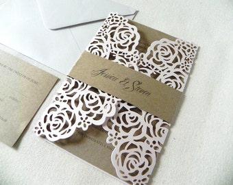Blush Pink Roses Wedding Invitation Suite for Garden Wedding - Laser Cut Pocket Fold, Insert Card, RSVP Card, and Envelopes