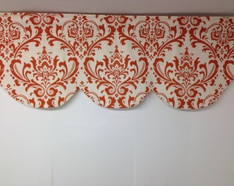 RTS Scallop window curtain valance, 42 x 16 inches, tangelo orange on white