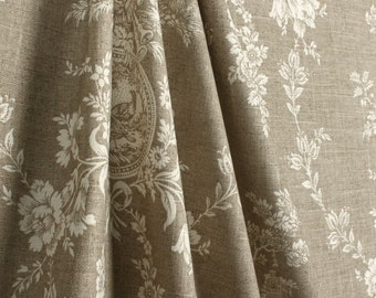 Waverly country house toile linen drapes, pair, two 50W panels, waverly curtains
