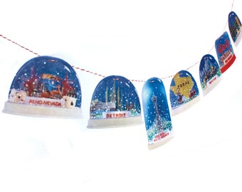 Retro Snow Dome Garland - photorealistic reproductions on felt