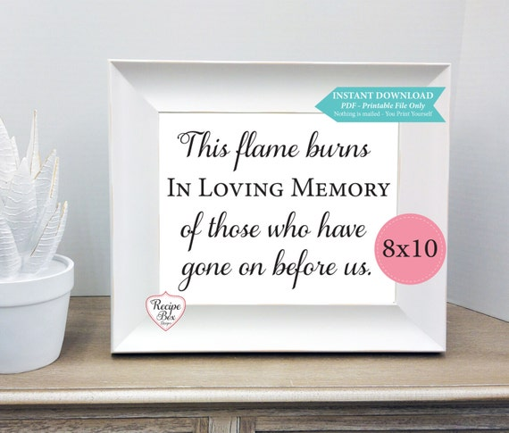 Items similar to in loving memory instant download printable wedding sign remembrance table for In loving memory templates free