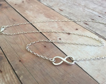 "18"" Sterling Infinity Charm Necklace Sterling Silver Rolo Chain Lobster Clasp Sturdy"