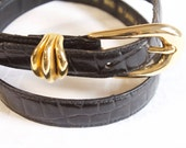 Vintage Black White Jones New York Leather Belt size medium