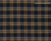 Primitive Dunroven House H-21 Homespun Navy Blue Large Plaid Fabric   1/2 Yard Cut Off The Bolt