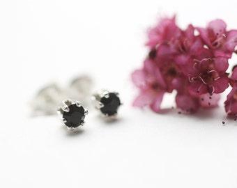 Jet Black Mini Stud Earrings. Small Sterling Silver Studs. Tiny Black Stud Earrings. Silver Stud Earrings. Small Black Studs.