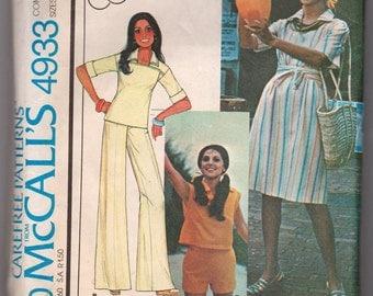 Vintage 1976 McCalls 4933 Ladies Dress, pants, and blouse pattern Size 12-16