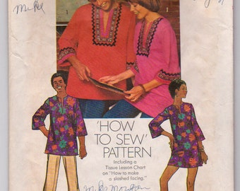 Simplicity 5828 (Packaging and directions ONLY) Vintage 1973 Tunic Top for men or women