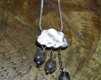 rain cloud boho necklace with labradorite, happy when it rains, birthstone jewelry, bridesmaid gift