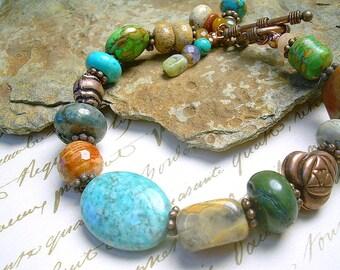 Turquoise Copper And Mixed Gemstone Bead Bracelet Boho Style Southwest Cowgirl