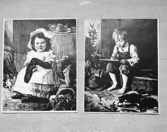 Vintage prints. Victorian Print. Victorian Children. Victorian decor. Marie Wunsch. Vintage home decor. German  artist. Vintage prints.