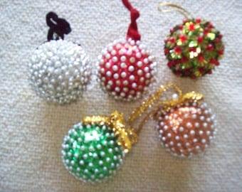 Lot of 5 Handmade Christmas Beaded Ornaments