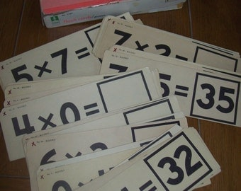 "Box of Vintage Multiplication Flashcards  9 1/4"" by 3 1/4"""