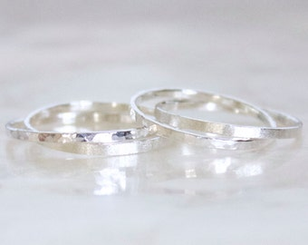 Hers and Hers Women's Double Rolling Rings of Hammer Faceted Sterling Silver Wedding, Commitment, Promise Rings Eco Friendly Recycled Silver