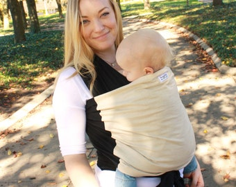 Black & Tan Baby Carrier Hybrid Stretch Wrap - Supportive for Front and Back Carries -Custom Fit at Every Developmental Stage 8-35 lbs.