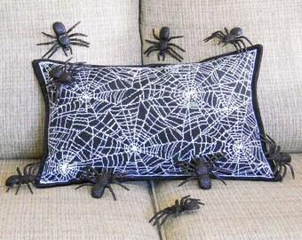 Halloween Spider Pillow   Spider Webs With Spider   Halloween Decor