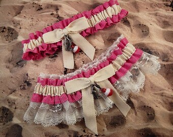 Fishing Hot Pink Fuchsia Linen Look Ivory Twill Ivory lace Fish Bobber Charm Wedding Bridal Garter Toss Set