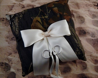 Camo Camouflage Green Brown Ivory Bow Wedding Ring Bearer Pillow