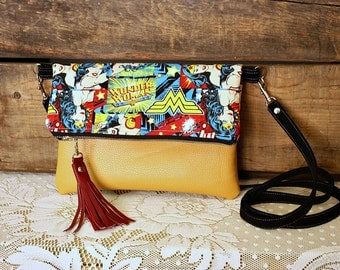 Wonder Woman Crossbody Clutch wristlet purse Faux leather trim -- Ready -