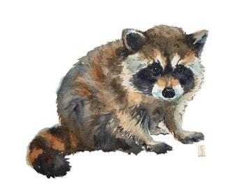 Baby Raccoon Watercolor print, Woodland Animals, Nursery art, Woodland Nursery, Nursery decor, Woodland Creatures, Animal print