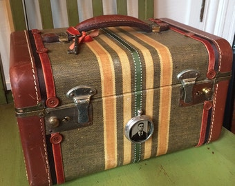 Vintage Edwardian Victorian Steampunk Striped Train Case for a Lady or Gent