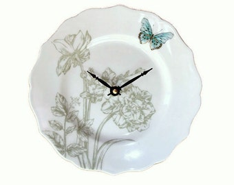 9 Inch Sage Turquoise Floral Butterfly Wall Clock, SILENT, Numbers Available, Porcelain Plate Clock, Unique Wall Clock - 2176