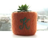 Felt Bowl Felted Ring Dish Personalised Monogram Autumn Fall Small Mini Soft Container Orange Pumpkin Candy Apple Red Chocolate Brown