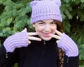 diy hat, learn to knit, knit kit, beginner knit hat, fingerless mitts, 100% wool, bulky yarn, wool knit kit, cat, kitten, lavender, easy
