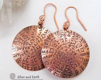 Big Bold Copper Earrings, Round Dangle Earrings, Textured Metal Earrings, Handmade Solid Copper Jewelry, Copper Anniversary Gifts for Women
