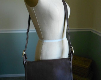 Coach Chocolate Brown Saddle  Bag /  Leather Coach Shoulder Bag