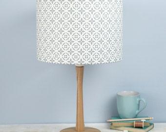 Meryam Lampshade, geometric moorish tiling pattern, grey design on a white background, made in Uk, free UK postage, ceiling light,