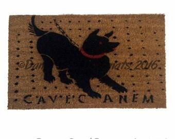 Cave Canem Roman mosaic - beware the dog-  dog door mat
