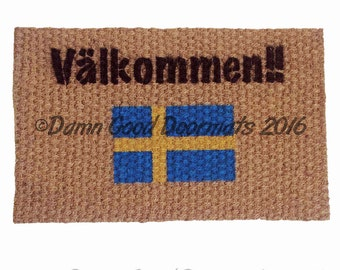 Swedish doormat - Välkommen Welcome mat  with Swedish Flag
