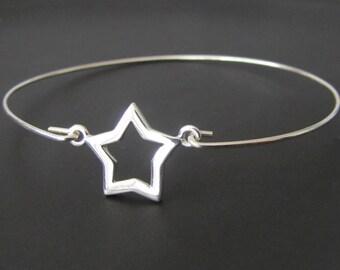 Star Bangle Bracelet,  Star Bracelet, Sterling Silver, Jewelry, Friendship Bracelet, Gift
