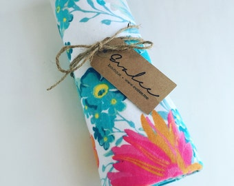 Pink and Blue Floral Swaddle Receiving Blanket - Flannel Baby Blanket - FREE SHIPPING in USA