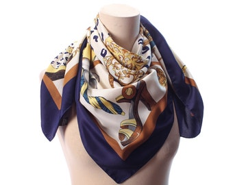 Novelty Print Scarf 80s Vintage Chains HIGH SOCIETY GIRLS Scarf Accessories Printed Scarf Luxury Shoes Bags Car Print White Gold Navy Shawl