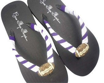You Design your Football Flip Flops to Match Team Colors. All sizes. Ladies/ Girls. Purple White black- many colors!