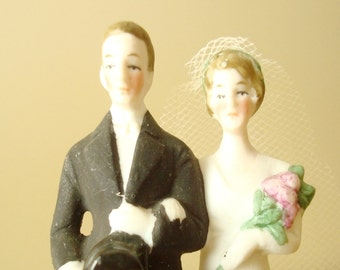 Bride and groom wedding cake topper, German porcelain, hand painted with original veil, white wedding gown, pink bouquet, tuxedo & top hat