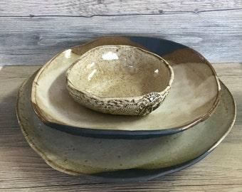 Ceramic dinner plates - Dinnerware plates (white on black ) ceramic bowl handmade tableware dishes dinnerware by Christiane Barbato