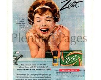 1959 Zest Soap Vintage Ad, 1950's Housewife, 1950's Beauty, Retro Beauty, 1950's Bathroom, Retro Decor, Ceil Bleue Perfume, Great to Frame.