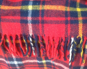 Vintage Red Plaid Wool Blanket with Fringe