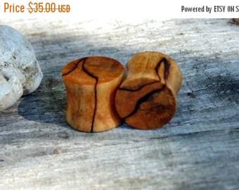 Fall Sale 12.5mm Fantastic Black line Maple burl wood ear plugs, organic hand crafted half inch gauge set of flesh plugs