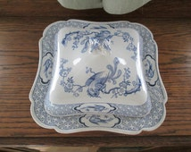 Dudson, Wilcox & Till Hanley, England Blue Willow Transfer Covered Vegetable Bqwl - Vanity Pattern Stafforshire England Style Blue White
