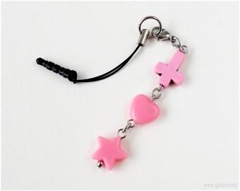 Pastel Goth Phone Charm Strap, Bubblegum Pink, Black, Inverted Cross, Heart, Star, Creepy Cute, Earphone Jack