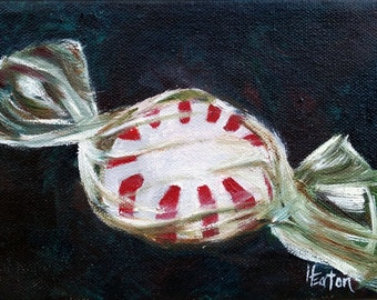 Peppermint, Peppermint painting, Candy painting, Christmas candy, Christmas candy painting, Peppermint Candy, Red and white, Helen Eaton