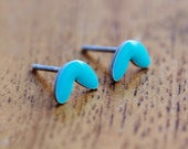 Turquoise Earrings - Turquoise Enamel and Silver Stud Earrings- Turquoise Cress Earrings