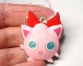 Pokemon Pink Jigglypuff Inspired Chunky Pendant, Keychain, Bookmark, Zipper Pull, Chunky Jewelry, Purse Charm