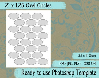 """Oval Circles - Digital Layered Collage Sheet Template:  2"""" x 1.25"""""""