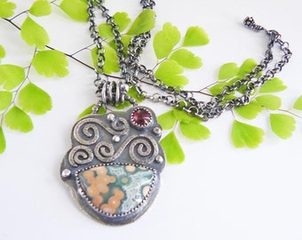 Ocean jasper silver pendant necklace - pink and green pendant - sterling silver pendant with gemstone - one of a kind modern pendant - OOAK