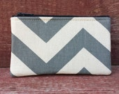Mini Zipper Pouch Gray Chevron Handmade in Iowa