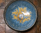 "READY TO SHIP Infinity Greek Key Geometric Sqaure Design Border Yellow and Blue Crystalline Glazed Vessel Sink  15 1/5"" Wide"